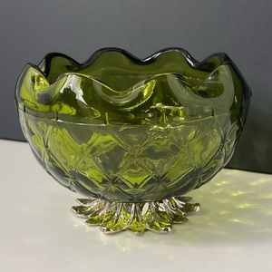 Vintage Green Pedestal Bowl by Indiana Glass